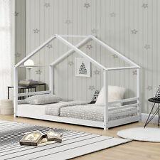 Cama para niños de Pino 200 x 90 cm Cama Infantil Forma de casa Blanco Mate