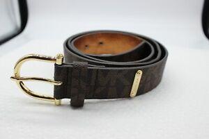 NWT Michael Kors Brown Faux Leather MK Signature Belt 553559C