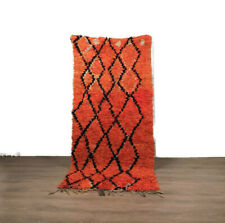 7.6'X3 Rug Boucherouite Cotton  Hallway Vintage Oriental Area Carpet Handmade