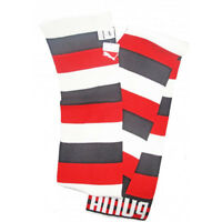 "Puma Knitted Winter Scarf Unisex Acrylic Red White Grey Striped 70 "" x 8 """