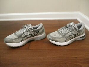 Used Worn Size 9 Asics Gel Nimbus 21 Shoes Gray, White, Silver