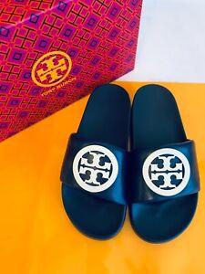 Tory Burch NIB Lina Slide Sandals Nappa Leather Logo Navy Ivory MANY SIZES