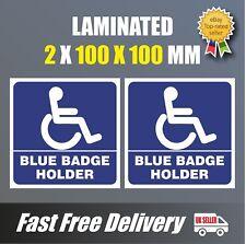 2 X ADESIVI disabili Blue Badge Holder Auto Adesivo Vinile Decalcomania 100 mm parcheggio