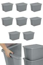8 Plastic Storage Containers Stackable Tote Bins Lids 18 Gal Box Gray New Totes