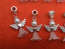 20 White & Silver Angel Good Luck Charms Pendants Heart Wings ❤️ Free Ship