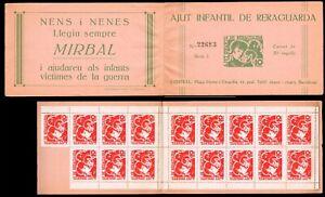 España .Guerra Civil. 1938. Ajut Infantil de Reraguarda. Carnet ( Falta 3 sello)