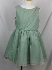 JCrew Crewcuts $198 Girls Crinkle Draped Chiffon Dress 4 NWT dusty shale 07234