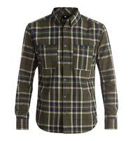 DC Shoes Men's South Ferry Flannel Shirt - Fatigue Green (Size S, M)