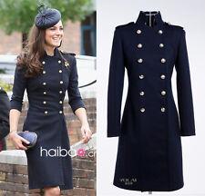 Kate Middleton Navy Blue Autumn Coat Trench Long Sleeve Bodycon Dress