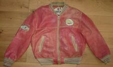 Nickelson Distressed Red Leather Bomber Baseball Varsity Jacket size XL