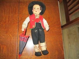 "11"" Antique All Original Lenci Boy Doll With Umbrella  2 Tags."