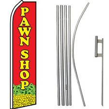 Pawn Shop Red / Yellow Swooper Flag & 16ft Flagpole Kit/Ground Spike