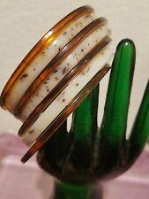 Vintage Lucite Amber & Cream Color Bangle Bracelets