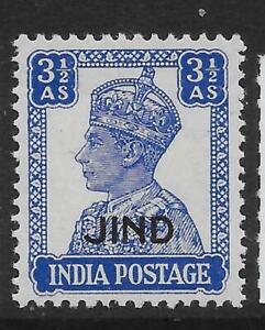 INDIA-JIND SG145 1941 3½a BRIGHT BLUE MTD MINT
