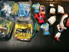 Lot of McDonald's Burger King Spongebob & Penguins of Madagascar Toys Fast Food