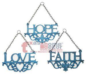 Turquoise Wall Plaques HOPE FAITH LOVE 3Pc Set Cast Iron Fleur De Lis Wall Decor