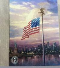 2004 Thomas Kinkade Light of Freedom Flag Ny Skyline Statue Of Liberty Eagle
