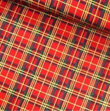 Tartan Red Gold Cotton Fabric 100% Cotton Christmas Craft Dressmaking