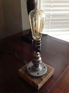 Handmade Reclaimed Wood And Steel Pipe Table Lamp, Rustic Industrial Lamp