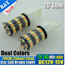 2x Dual Color 48 LED 3157/7443 T20 W21/5W Stop/Tail bulbs WHITE+AMBER DC12V-15V
