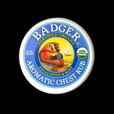 BADGER 100% CERTIFIED ORGANIC CHEST RUB FOR COLDS AND COUGHS BALM ESSENTIAL OILS