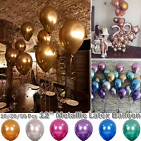 """100x Metallic Balloons Chrome Shiny Latex 12"""" Thicken For Wedding Party Baby New"""