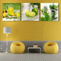 3Pcs Modern Tea Cup Lemon Fruits Canvas Painting Home Wall Art Picture Decor