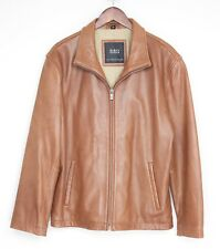 R&O Brand Reilly Olmes Leather Jacket Large Mid Brown Butter Soft Zip Coat