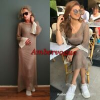 Zara Woman Tan Knitted Long Sleeve Midi Dress Size S UK 8 10