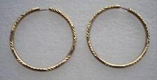 Beautiful large engraved 9ct Gold hoop earrings  pierced 2.8 grams