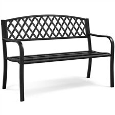 Patio Garden Bench Metal Park Bench Yard Chairs for Outdoor/Porch/Deck/Lawn/Park