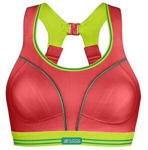 Shock Absorber Ultimate Run Sports Bra Red / Lime High Support BNWT - 30B
