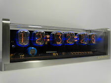 6 x IN-12 Nixie Tubes Clock aluminum case & backlight & alarm steampunk retro