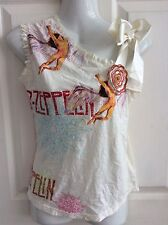 LED ZEPPELIN unusual RIBBON BOW T SHIRT ROSE BLOUSE FESTIVAL TOP siz 12 BNWT new