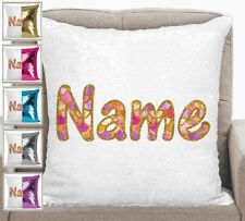 Personalised With Name Magic Sequin Mermaid Cushion Pillow Cover 7 Colours