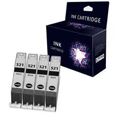 4 Black Ink Cartridges For Canon CLI-521 MP540 MP550 MP560 MP620 MP630 MP640