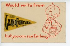 Greetings from GRAND FORKS ND Felt Pennant Cute Baby PIM Artist-Signed 1919