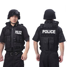 NEW POLICE Men Tactical Vest BLACK For Army Military SWAT Hunting Hiking