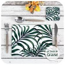 Palm Leaf Print Placemat & Coaster, Tropical Palms Tableware, Tropical Decor
