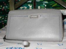 Tumi Women Zip Around Travel Grey Leather Wallet Clutch NWT MSRP $195 041484GYO