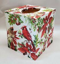 Made to Order, Handmade Decoupage Tissue Box Cover, Poinsettia, Cardinals