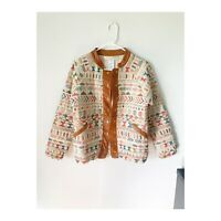 Anthropologie Size Small Quilted Silk Patterned Leather Jacket
