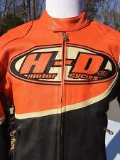 Harley Davidson Speed Leather Jacket Men's Medium Orange Racing Black 98144-03VM