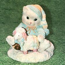 "Enesco Calico Kittens ""Ewe Warm My Heart� Cat Figurine 628182"