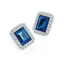 Silver Coloured Clear and Blue Crystal Stud Earrings Rectangle Fashion Jewellery