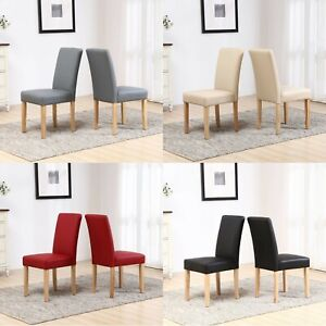 Faux PU Leather High Back Seat Dining Room Restaurant Chairs Set Wooden Oak Legs