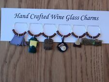 """""""  CAMPING OUT """" Hand Crafted SET OF 6  Wine Glass Charms"""