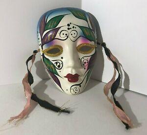 "Ceramic Clay 5"" Wall Mask Floral Decor w/ Ribbons VGC"