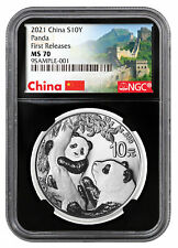 2021 China 30 g Silver Panda ¥10 Coin Ngc Ms70 Fr Black Core Great Wall
