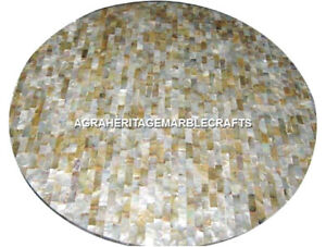 White Marble Coffee Round Table Top Sea Shell Inlay Outdoor Mosaic Decor H3009